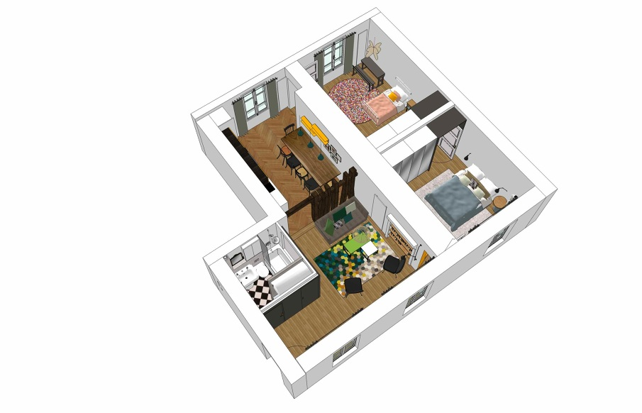 Plan Appartement 60M2 renovation of an apartment in paris - 60m2 - bénédicte faure